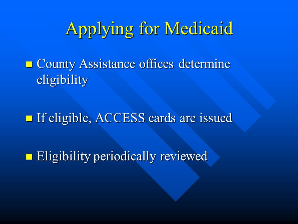 Financing Medicaid in Pennsylvania Expected to cost $8.5 billion in Fiscal Year 2000- 2001 Expected to cost $8.5 billion in Fiscal Year 2000- 2001 On October 1, 2000, Federal Medical Assistance Percentage (FMAP) will be 53.67 percent On October 1, 2000, Federal Medical Assistance Percentage (FMAP) will be 53.67 percent By law, FMAP cannot be lower than 50 percent or more than 83 percent By law, FMAP cannot be lower than 50 percent or more than 83 percent FMAP can only be earned on federal categories of eligibility FMAP can only be earned on federal categories of eligibility