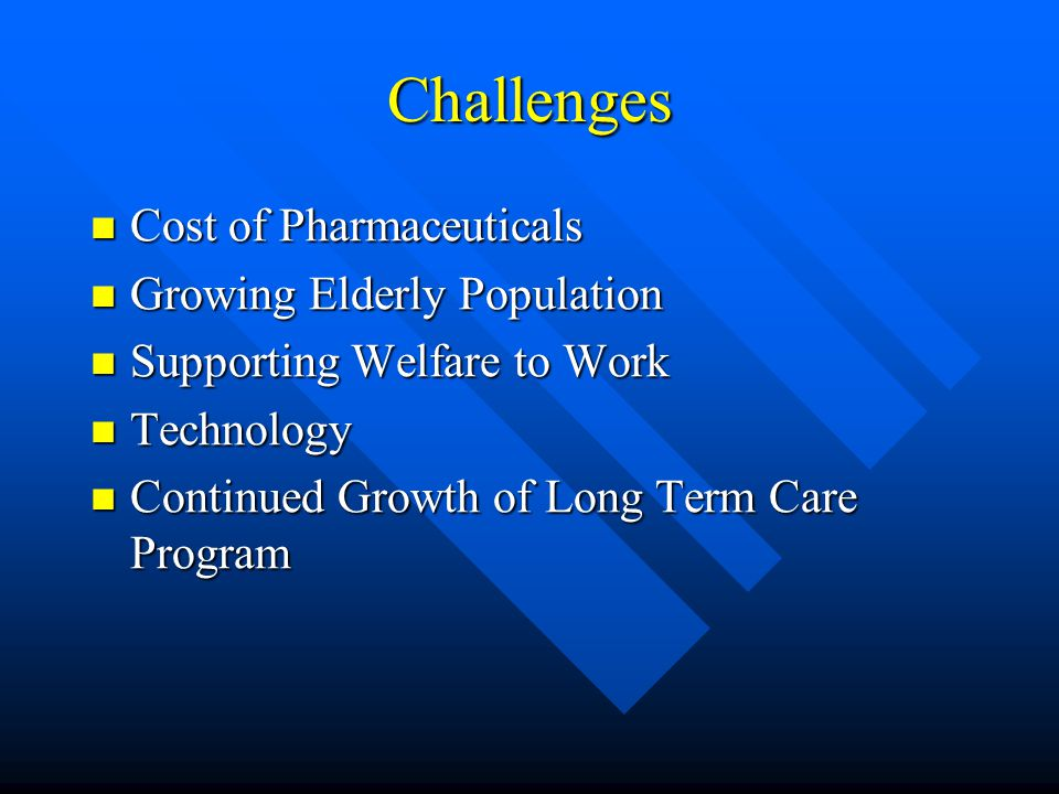 Human Services Goals of the Ridge Administration Home and Community Service Alternatives to Institutionalization Home and Community Service Alternatives to Institutionalization Supporting Welfare to Work Supporting Welfare to Work Expand HealthChoices Expand HealthChoices