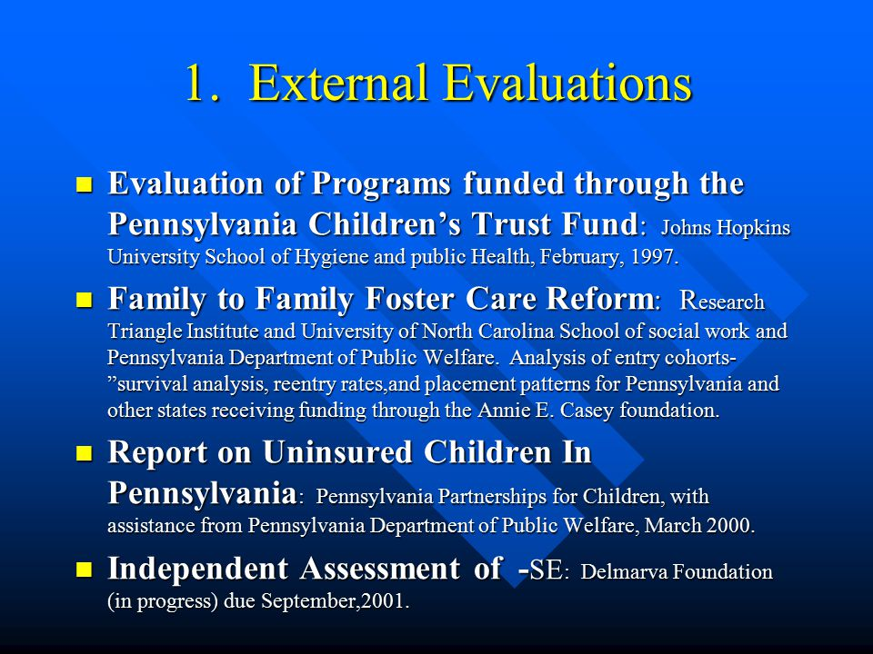 Department of Public Welfare Current Research Evaluations/reports