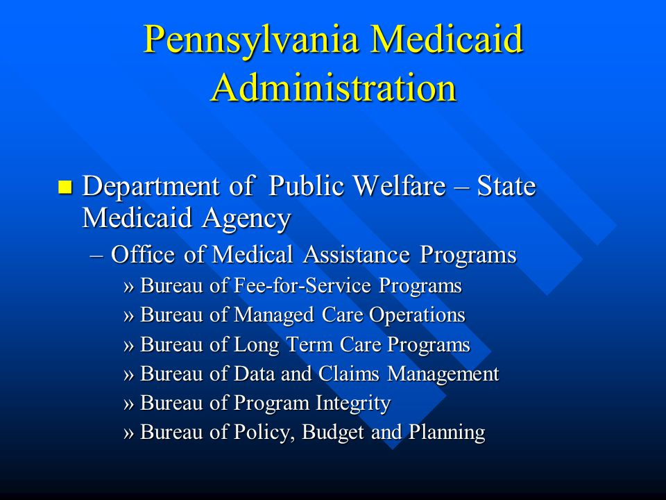 Pennsylvania Medicaid is one of the Largest Insurers Nationally Provides services to almost 1.4 million individuals Provides services to almost 1.4 mi