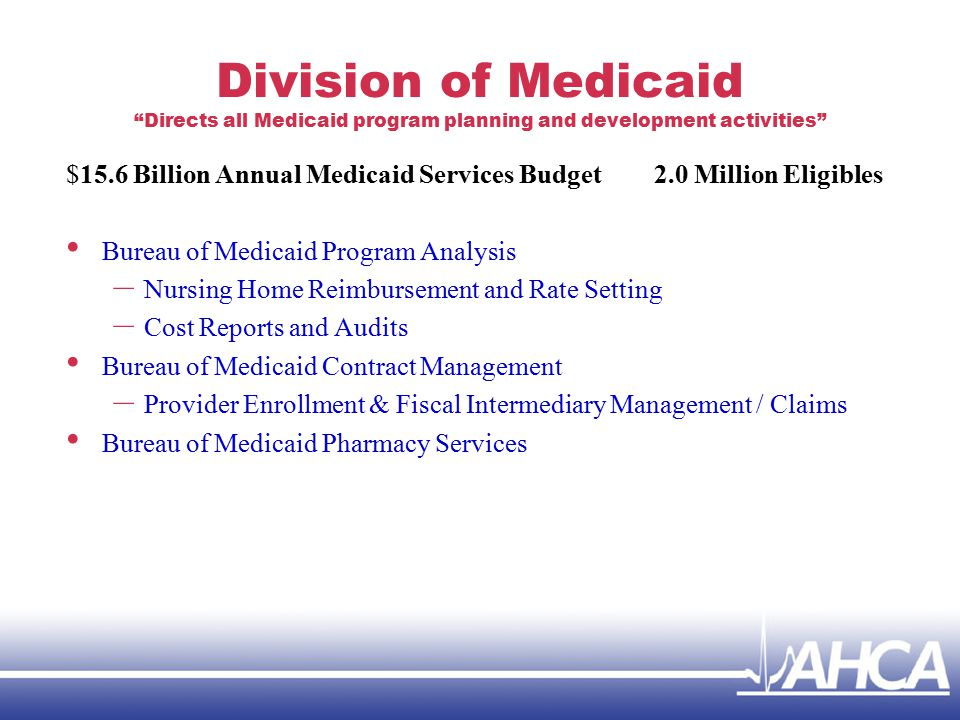 Division of Medicaid Directs all Medicaid program planning and development activities $15.6 Billion Annual Medicaid Services Budget 2.0 Million Eligibles Bureau of Medicaid Program Analysis – Nursing Home Reimbursement and Rate Setting – Cost Reports and Audits Bureau of Medicaid Contract Management – Provider Enrollment & Fiscal Intermediary Management / Claims Bureau of Medicaid Pharmacy Services