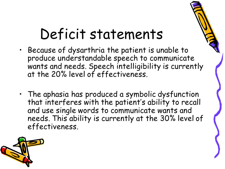 Deficit statements Because of dysarthria the patient is unable to produce understandable speech to communicate wants and needs.