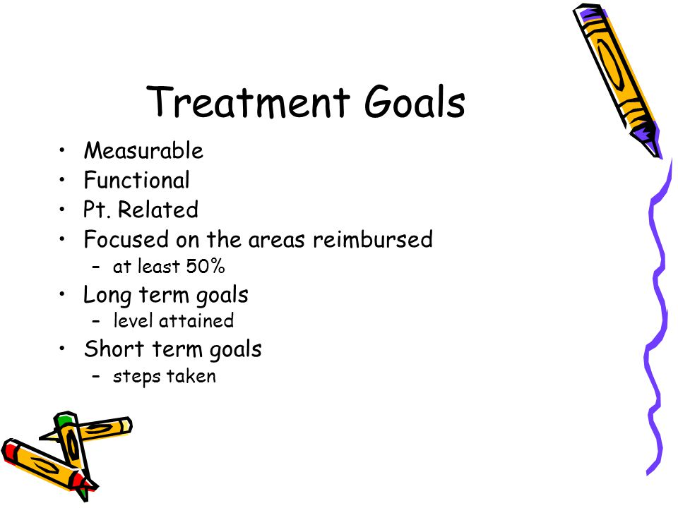 Treatment Goals Measurable Functional Pt. Related Focused on the areas reimbursed –at least 50% Long term goals –level attained Short term goals –step
