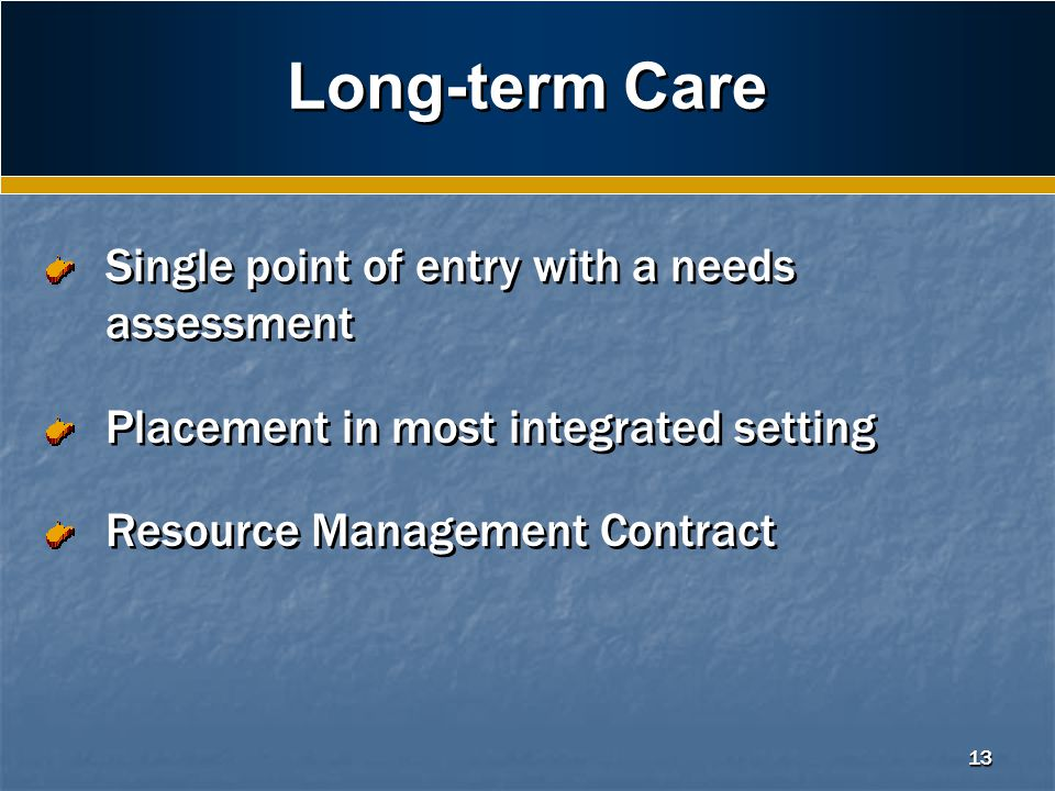 13 Long-term Care Single point of entry with a needs assessment Placement in most integrated setting Resource Management Contract Single point of entry with a needs assessment Placement in most integrated setting Resource Management Contract