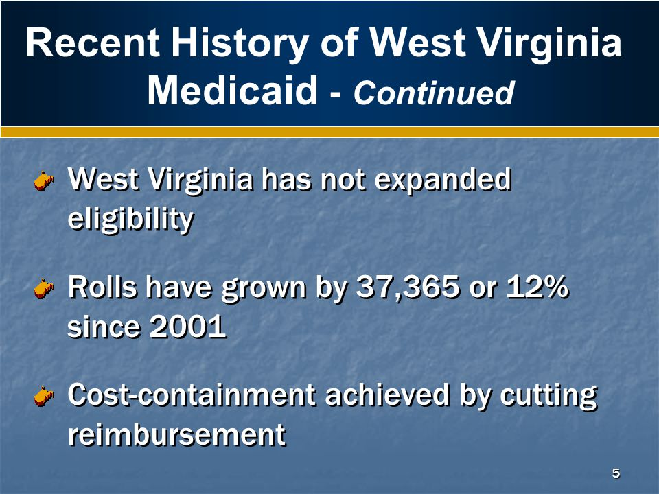 5 Recent History of West Virginia Medicaid - Continued West Virginia has not expanded eligibility Rolls have grown by 37,365 or 12% since 2001 Cost-containment achieved by cutting reimbursement West Virginia has not expanded eligibility Rolls have grown by 37,365 or 12% since 2001 Cost-containment achieved by cutting reimbursement