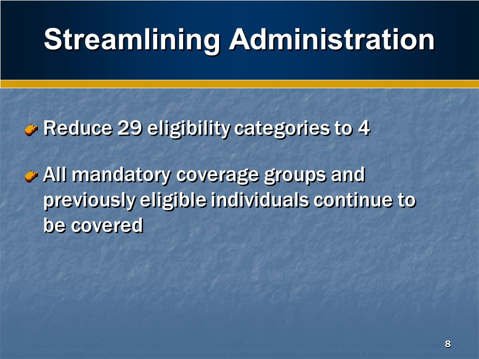8 Streamlining Administration Reduce 29 eligibility categories to 4 All mandatory coverage groups and previously eligible individuals continue to be covered Reduce 29 eligibility categories to 4 All mandatory coverage groups and previously eligible individuals continue to be covered