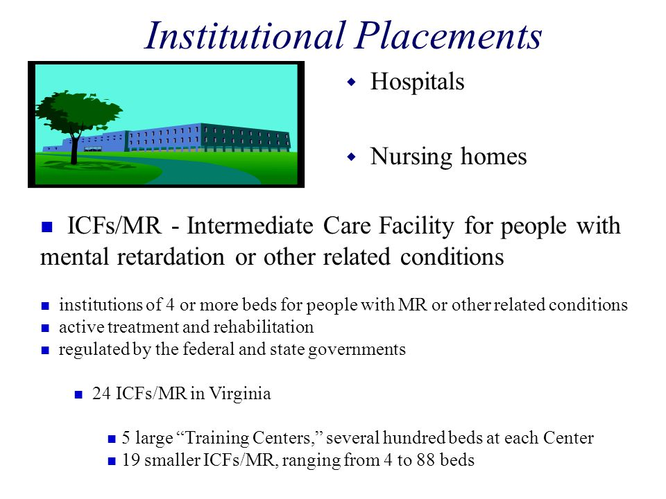 Institutional Placements w Hospitals w Nursing homes n ICFs/MR - Intermediate Care Facility for people with mental retardation or other related condit