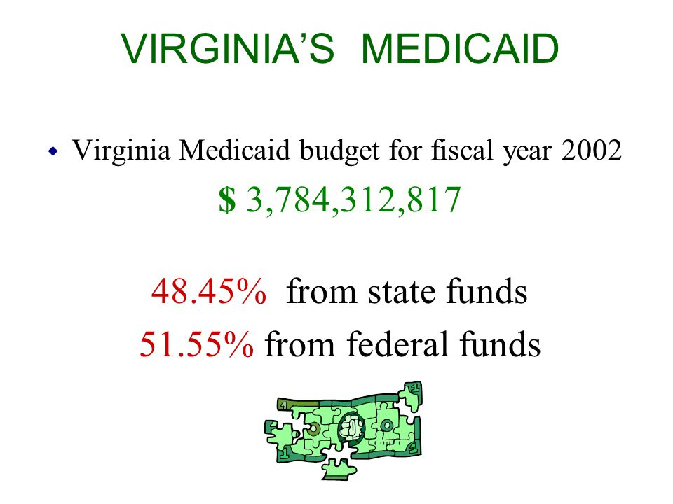 VIRGINIA'S MEDICAID w Virginia Medicaid budget for fiscal year 2002 $ 3,784,312,817 48.45% from state funds 51.55% from federal funds