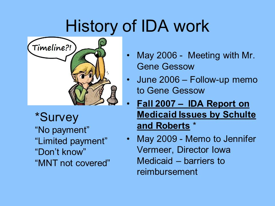 History of IDA work May 2006 - Meeting with Mr.