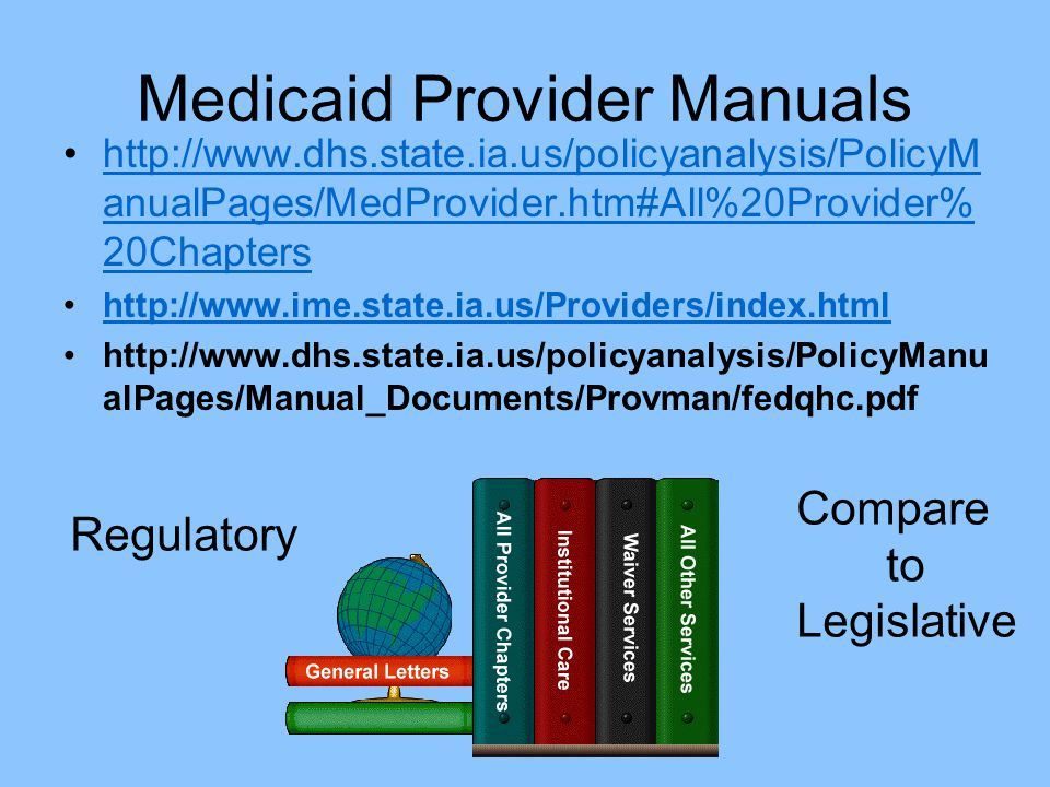 Medicaid Provider Manuals http://www.dhs.state.ia.us/policyanalysis/PolicyM anualPages/MedProvider.htm#All%20Provider% 20Chaptershttp://www.dhs.state.ia.us/policyanalysis/PolicyM anualPages/MedProvider.htm#All%20Provider% 20Chapters http://www.ime.state.ia.us/Providers/index.html http://www.dhs.state.ia.us/policyanalysis/PolicyManu alPages/Manual_Documents/Provman/fedqhc.pdf Regulatory Compare to Legislative