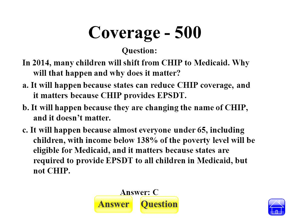 AnswerQuestion Coverage - 500 Question: In 2014, many children will shift from CHIP to Medicaid. Why will that happen and why does it matter? a. It wi