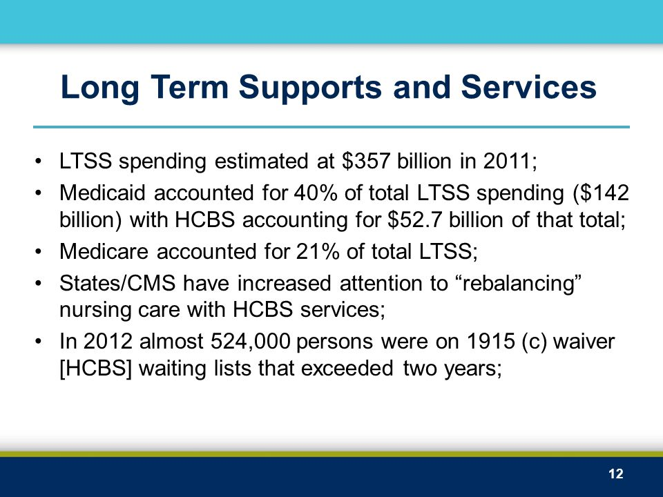 Long Term Supports and Services LTSS spending estimated at $357 billion in 2011; Medicaid accounted for 40% of total LTSS spending ($142 billion) with HCBS accounting for $52.7 billion of that total; Medicare accounted for 21% of total LTSS; States/CMS have increased attention to rebalancing nursing care with HCBS services; In 2012 almost 524,000 persons were on 1915 (c) waiver [HCBS] waiting lists that exceeded two years; 12