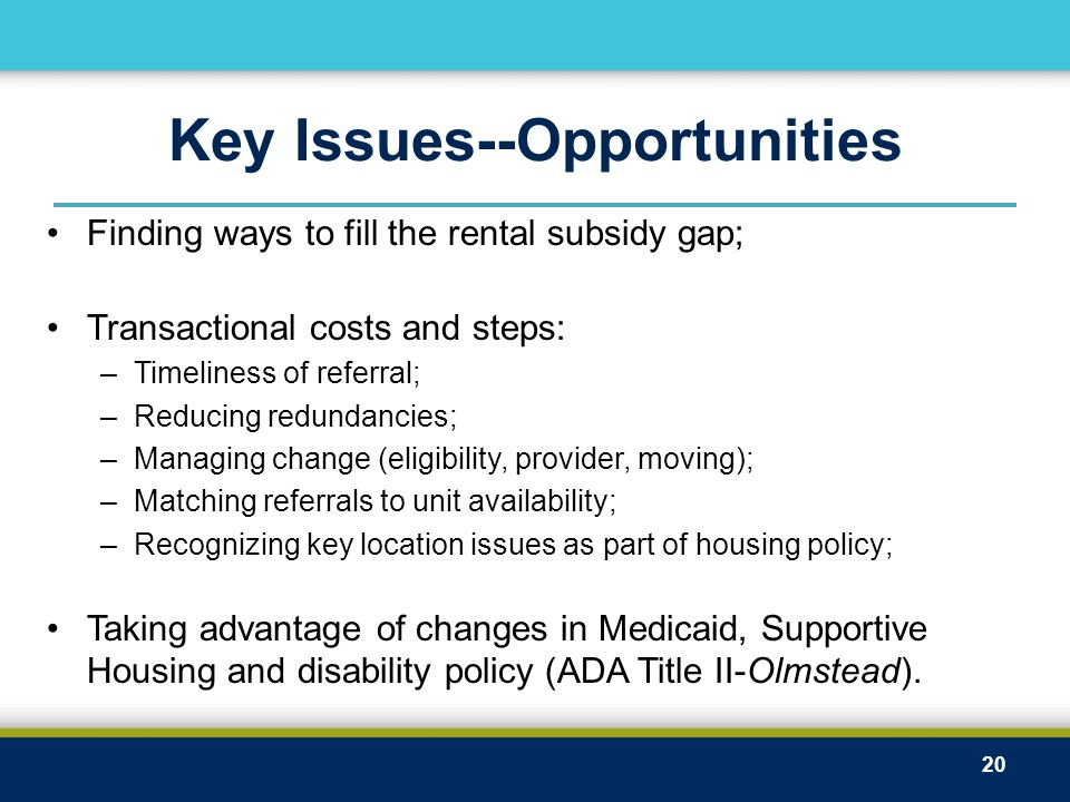 Key Issues--Opportunities Finding ways to fill the rental subsidy gap; Transactional costs and steps: –Timeliness of referral; –Reducing redundancies; –Managing change (eligibility, provider, moving); –Matching referrals to unit availability; –Recognizing key location issues as part of housing policy; Taking advantage of changes in Medicaid, Supportive Housing and disability policy (ADA Title II-Olmstead).