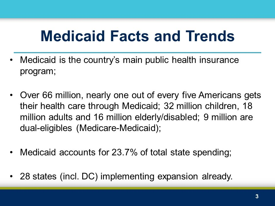 Medicaid Facts and Trends Medicaid is the country's main public health insurance program; Over 66 million, nearly one out of every five Americans gets