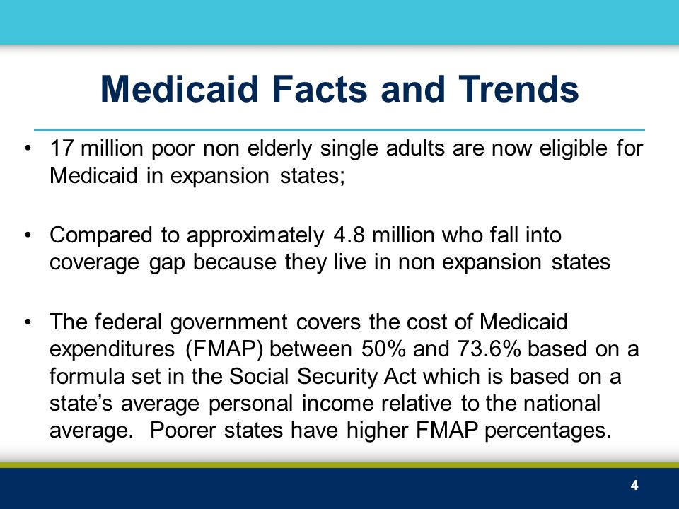 Medicaid Facts and Trends 17 million poor non elderly single adults are now eligible for Medicaid in expansion states; Compared to approximately 4.8 million who fall into coverage gap because they live in non expansion states The federal government covers the cost of Medicaid expenditures (FMAP) between 50% and 73.6% based on a formula set in the Social Security Act which is based on a state's average personal income relative to the national average.