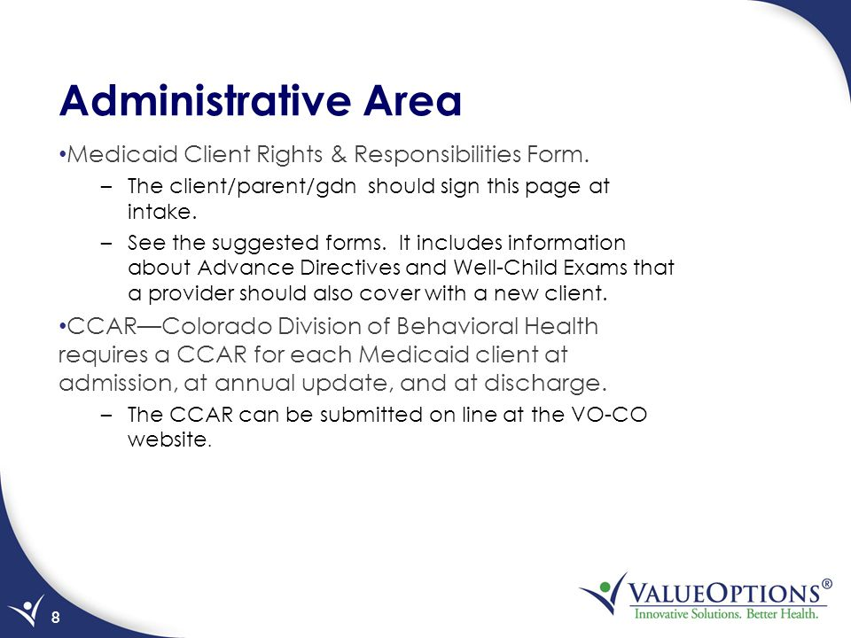 Administrative Area Medicaid Client Rights & Responsibilities Form.