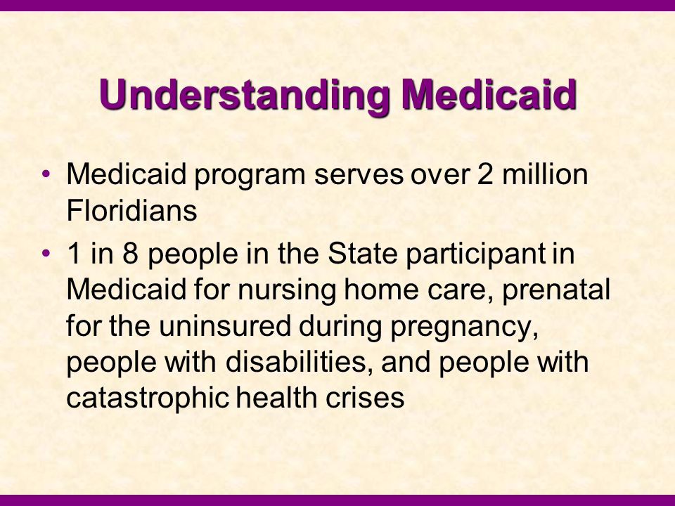 Understanding Medicaid Medicaid is funded both by the State and Federal Government ▪In 2004, the federal government is anticipated to provide 6.7 billion dollars in funding.