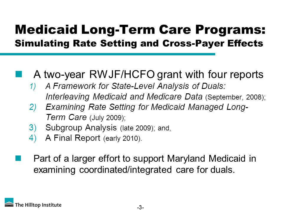 -3- Medicaid Long-Term Care Programs: Simulating Rate Setting and Cross-Payer Effects A two-year RWJF/HCFO grant with four reports 1)A Framework for State-Level Analysis of Duals: Interleaving Medicaid and Medicare Data (September, 2008); 2)Examining Rate Setting for Medicaid Managed Long- Term Care (July 2009); 3)Subgroup Analysis (late 2009); and, 4)A Final Report (early 2010).