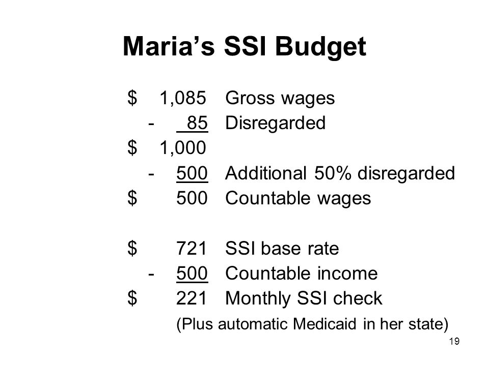 Maria's SSI Budget $ 1,085Gross wages - 85Disregarded $ 1,000 -500Additional 50% disregarded $500Countable wages $721SSI base rate -500 Countable income $221Monthly SSI check (Plus automatic Medicaid in her state) 19