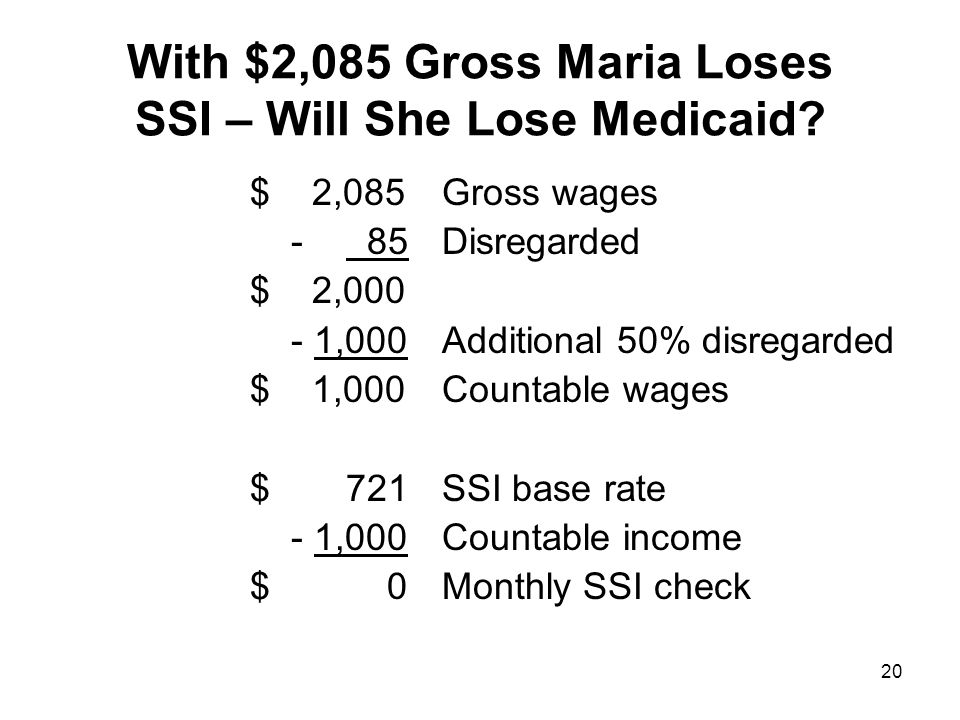 With $2,085 Gross Maria Loses SSI – Will She Lose Medicaid.