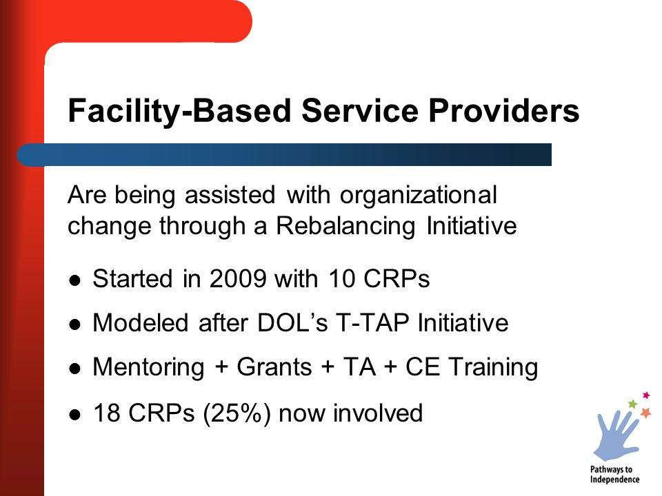 Facility-Based Service Providers Are being assisted with organizational change through a Rebalancing Initiative Started in 2009 with 10 CRPs Modeled a