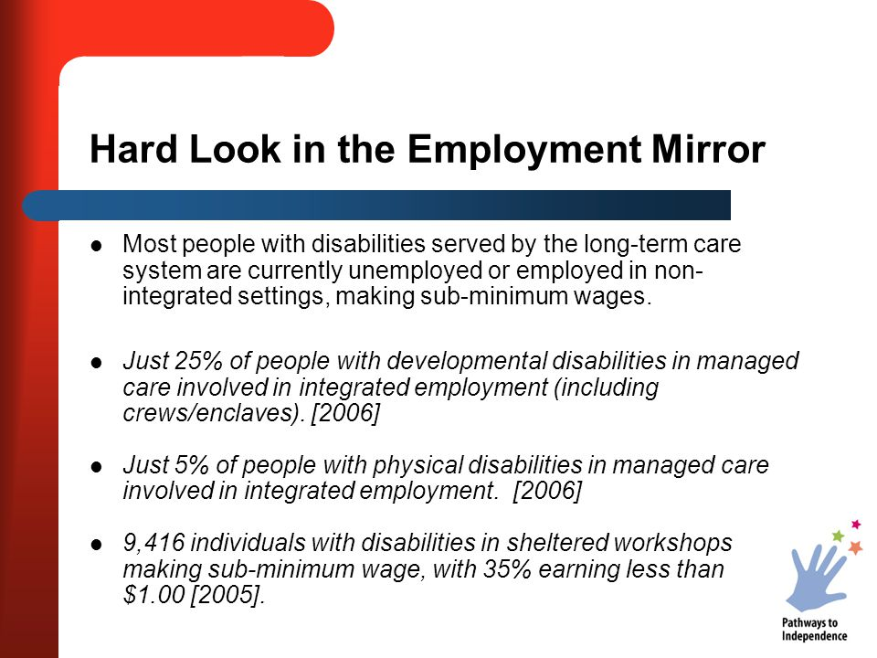 Hard Look in the Employment Mirror Most people with disabilities served by the long-term care system are currently unemployed or employed in non- inte