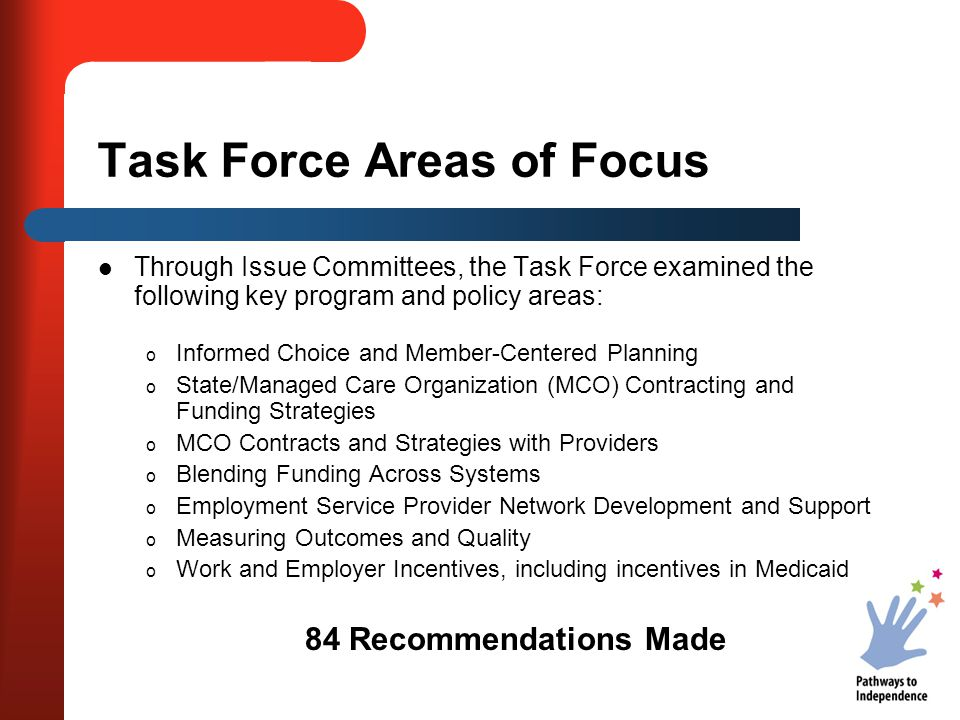 Task Force Areas of Focus Through Issue Committees, the Task Force examined the following key program and policy areas: o Informed Choice and Member-C