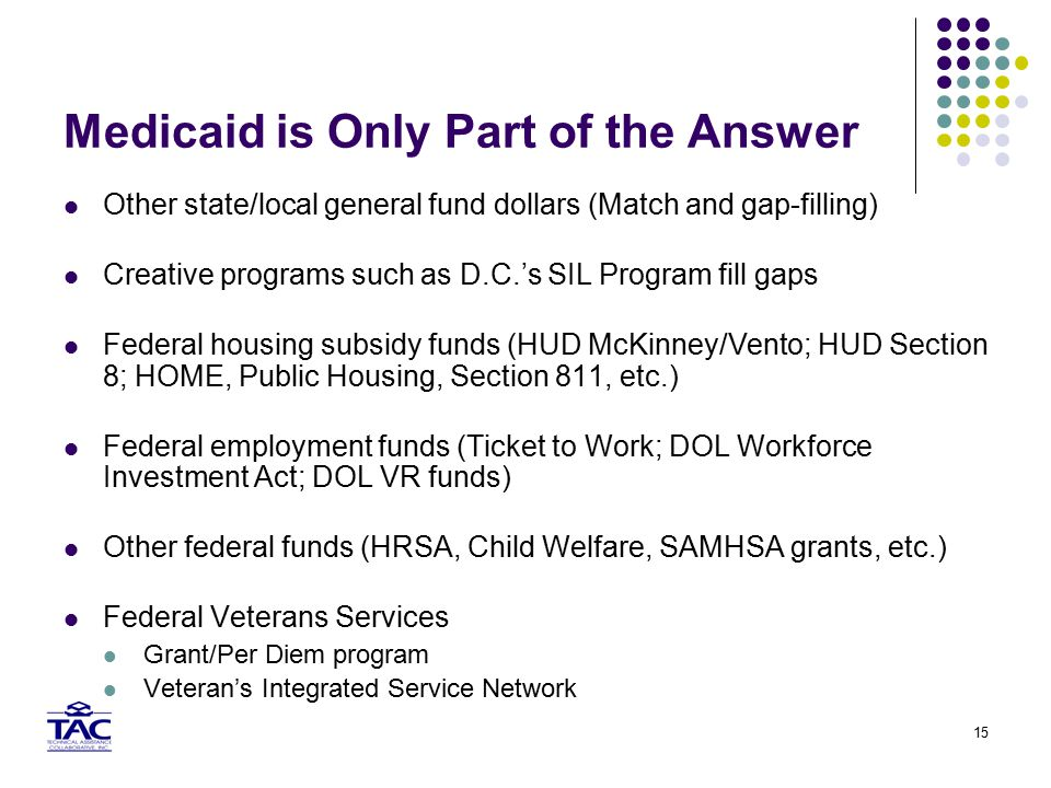 15 Medicaid is Only Part of the Answer Other state/local general fund dollars (Match and gap-filling) Creative programs such as D.C.'s SIL Program fill gaps Federal housing subsidy funds (HUD McKinney/Vento; HUD Section 8; HOME, Public Housing, Section 811, etc.) Federal employment funds (Ticket to Work; DOL Workforce Investment Act; DOL VR funds) Other federal funds (HRSA, Child Welfare, SAMHSA grants, etc.) Federal Veterans Services Grant/Per Diem program Veteran's Integrated Service Network