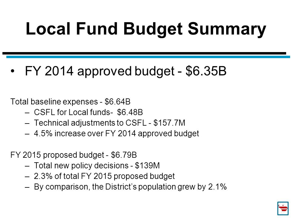 Local Fund Budget Summary FY 2014 approved budget - $6.35B Total baseline expenses - $6.64B –CSFL for Local funds- $6.48B –Technical adjustments to CS