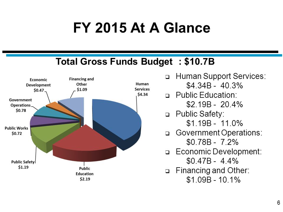 FY 2015 At A Glance  Human Support Services: $4.34B - 40.3%  Public Education: $2.19B - 20.4%  Public Safety: $1.19B - 11.0%  Government Operations: $0.78B - 7.2%  Economic Development: $0.47B - 4.4%  Financing and Other: $1.09B - 10.1% 6 Total Gross Funds Budget : $10.7B