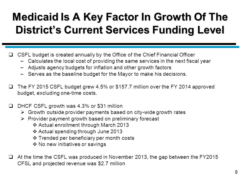 Medicaid Is A Key Factor In Growth Of The District's Current Services Funding Level  CSFL budget is created annually by the Office of the Chief Finan