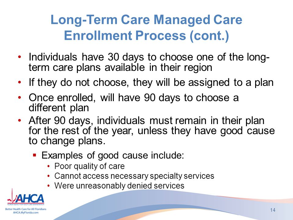 Long-Term Care Managed Care Enrollment Process (cont.) Individuals have 30 days to choose one of the long- term care plans available in their region If they do not choose, they will be assigned to a plan Once enrolled, will have 90 days to choose a different plan After 90 days, individuals must remain in their plan for the rest of the year, unless they have good cause to change plans.