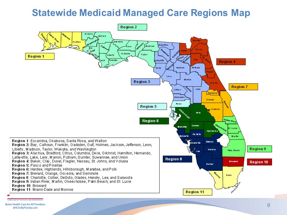 Statewide Medicaid Managed Care Regions Map 9