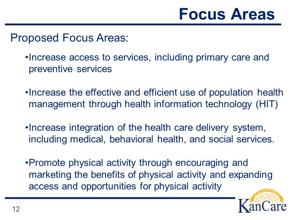Focus Areas 12 Proposed Focus Areas: Increase access to services, including primary care and preventive services Increase the effective and efficient use of population health management through health information technology (HIT) Increase integration of the health care delivery system, including medical, behavioral health, and social services.
