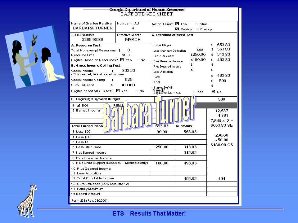 ETS – Results That Matter! INTERVIEW EARNED INCOME 2 - ERN2 ERN2 01 Month 02 09 01 Remarks Client Name MARTHA HOWARD Client ID 760000272 Employer Name