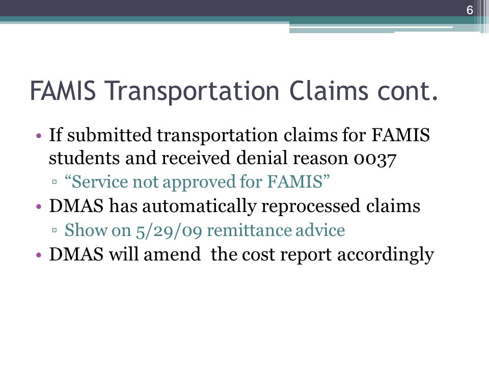 FAMIS Transportation Claims cont.