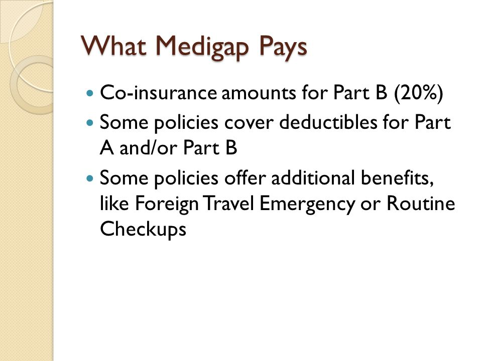 What Medigap Pays Co-insurance amounts for Part B (20%) Some policies cover deductibles for Part A and/or Part B Some policies offer additional benefi