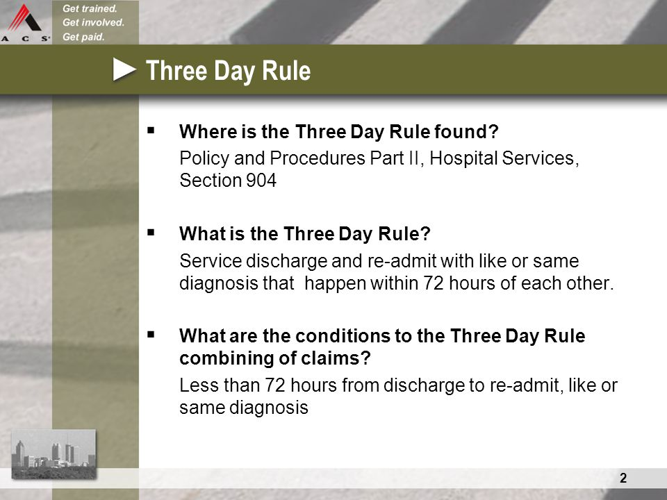 2 Three Day Rule  Where is the Three Day Rule found? Policy and Procedures Part II, Hospital Services, Section 904  What is the Three Day Rule? Serv
