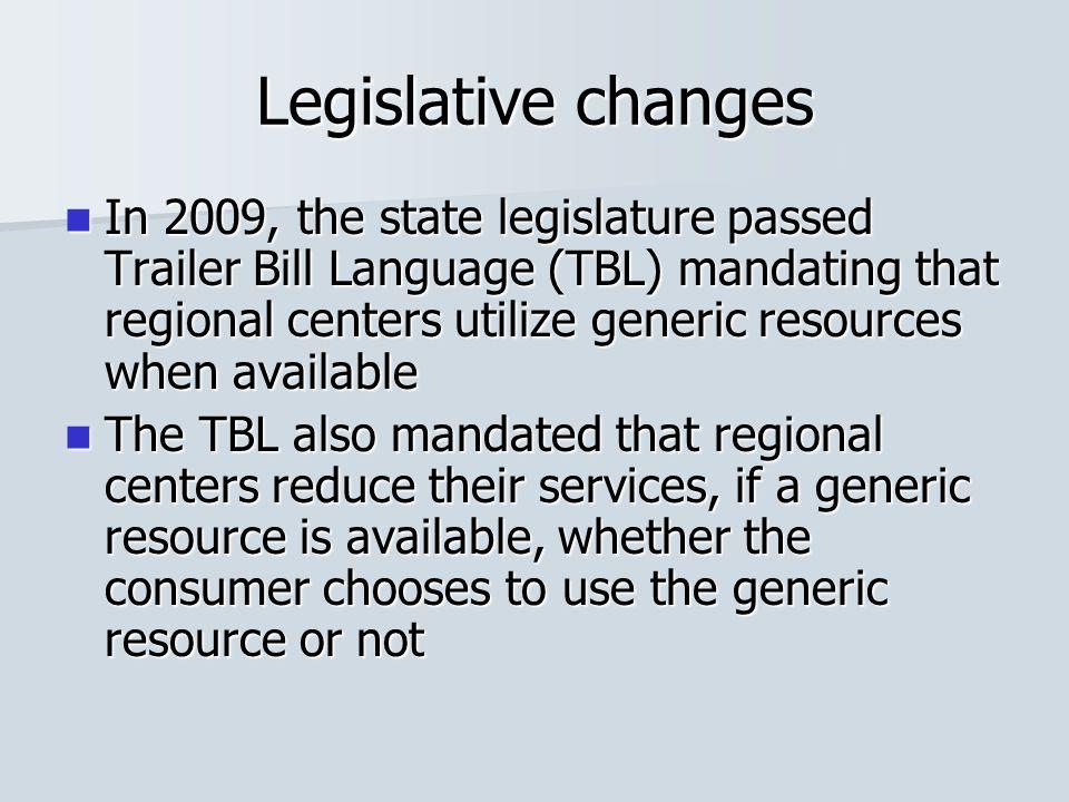 Legislative changes In 2009, the state legislature passed Trailer Bill Language (TBL) mandating that regional centers utilize generic resources when a