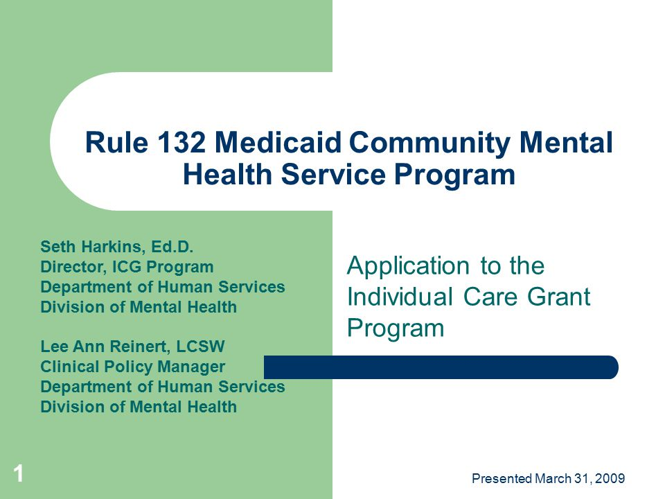Presented March 31, 2009 2 Agenda Understand the purpose and vision of Rule 132 Understand the requirements of Rule 132 Understand the Individual Care Grant (ICG) services covered by Rule 132 Questions