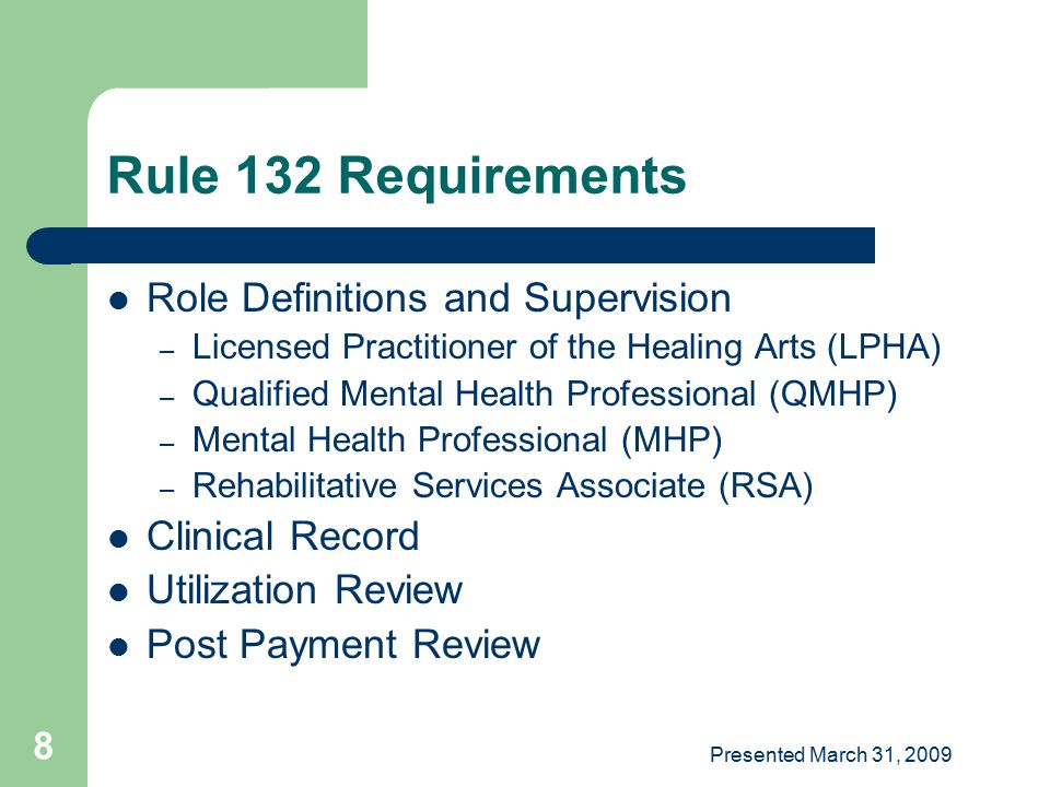 Presented March 31, 2009 59 Vocational Assessment Developing a vocational profile to guide individual choices in seeking and maintaining competitive employment Minimum staff: RSA