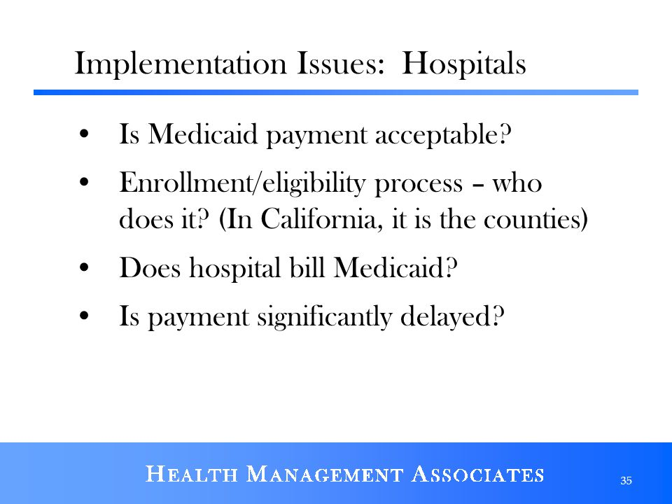 Implementation Issues: Hospitals Is Medicaid payment acceptable.