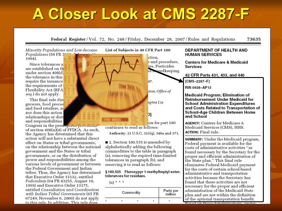 A Closer Look at CMS 2287-F