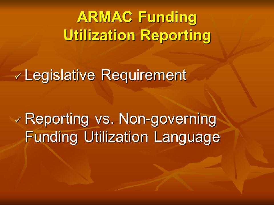 Legislative Requirement Legislative Requirement Reporting vs.