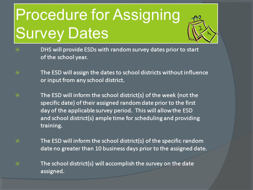  DHS will provide ESDs with random survey dates prior to start of the school year.