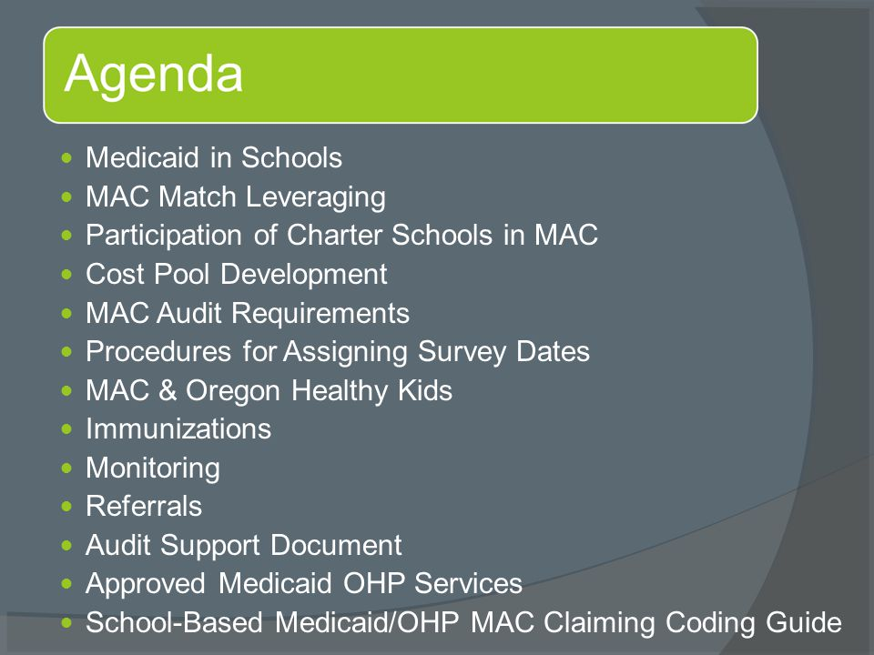Medicaid in Schools MAC Match Leveraging Participation of Charter Schools in MAC Cost Pool Development MAC Audit Requirements Procedures for Assigning