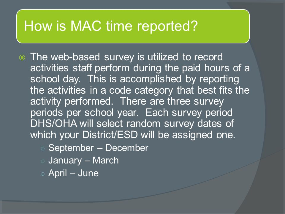  The web-based survey is utilized to record activities staff perform during the paid hours of a school day.