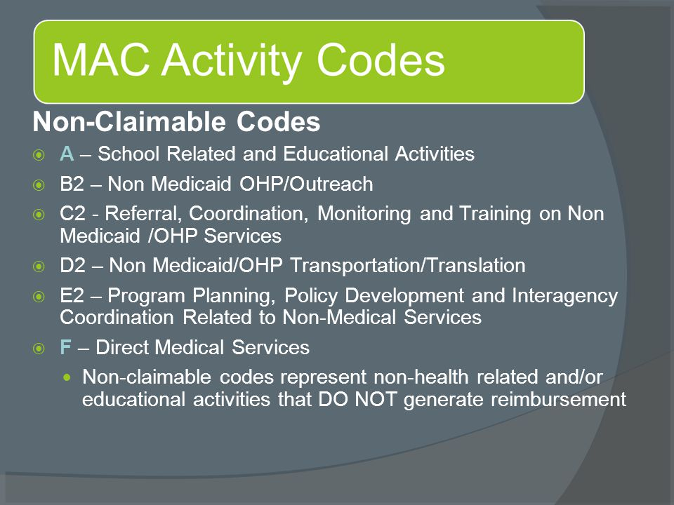 Non-Claimable Codes  A – School Related and Educational Activities  B2 – Non Medicaid OHP/Outreach  C2 - Referral, Coordination, Monitoring and Training on Non Medicaid /OHP Services  D2 – Non Medicaid/OHP Transportation/Translation  E2 – Program Planning, Policy Development and Interagency Coordination Related to Non-Medical Services  F – Direct Medical Services Non-claimable codes represent non-health related and/or educational activities that DO NOT generate reimbursement