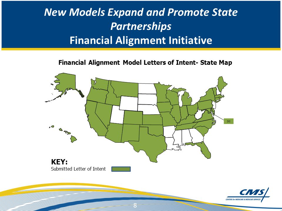 New Models Expand and Promote State Partnerships Financial Alignment Initiative 8 DC Financial Alignment Model Letters of Intent- State Map KEY: Submitted Letter of Intent