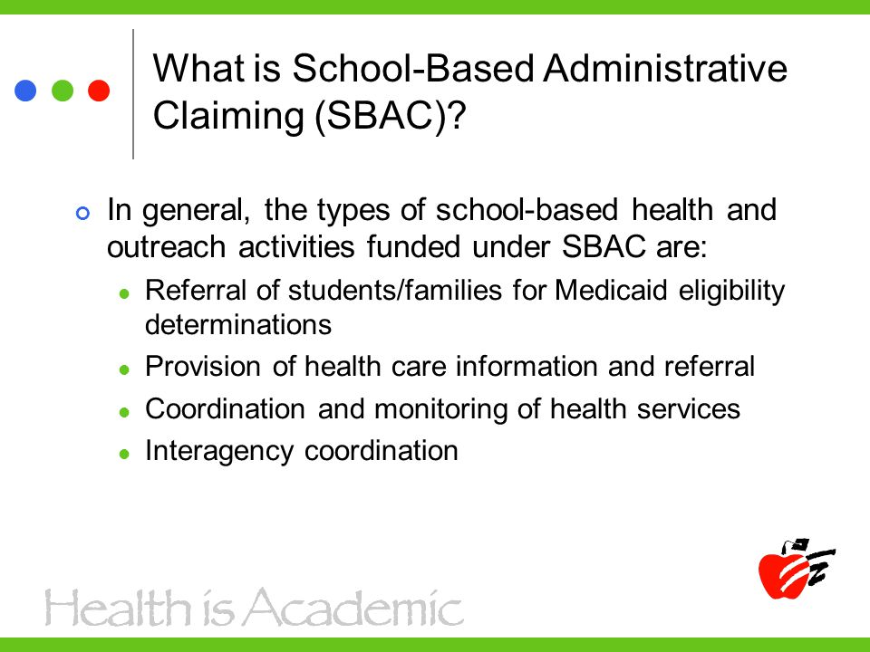What is School-Based Administrative Claiming (SBAC)? In general, the types of school-based health and outreach activities funded under SBAC are: Refer